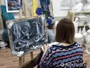Натюрморт гризайль в нашей художественной студии