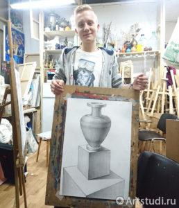 Рисование вазы на кубе