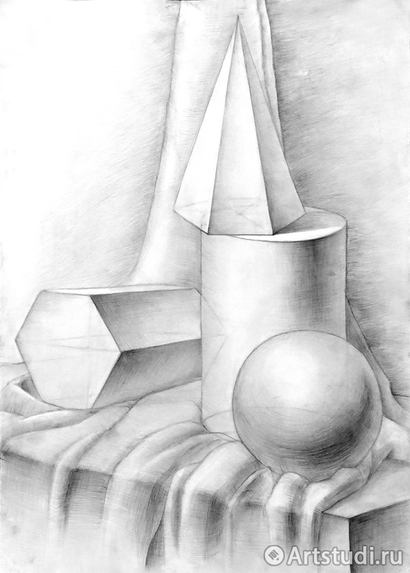 Рисование натюрморта из геометрических тел